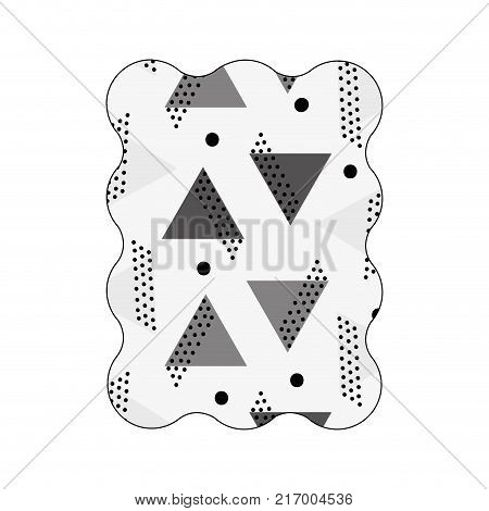 contour grayscale rectangle with memphis graphic abstract background vector illustration