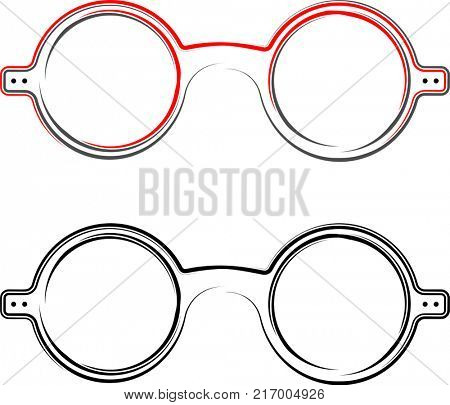 Spectacle, Reading Glass Icon, Flat Raster Illustration