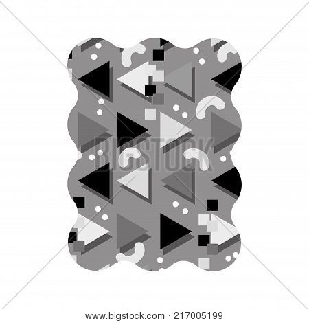 contour grayscale rectangle with style memphis graphic background vector illustration