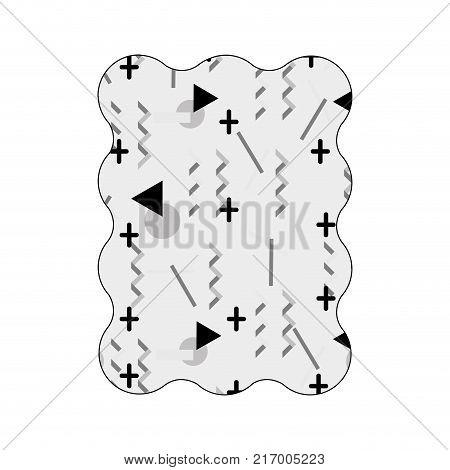 contour grayscale rectangle with memphis geometric art background vector illustration