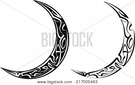Pinstripe Crescent Moon Design, Vinyl Ready Raster Illustration