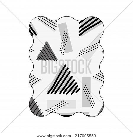 contour grayscale rectangle with geometric style memphis background vector illustration