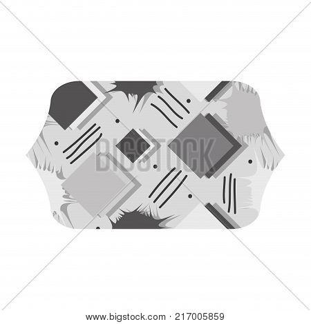 grayscale contour rectangle with memphis style geometric background vector illustration
