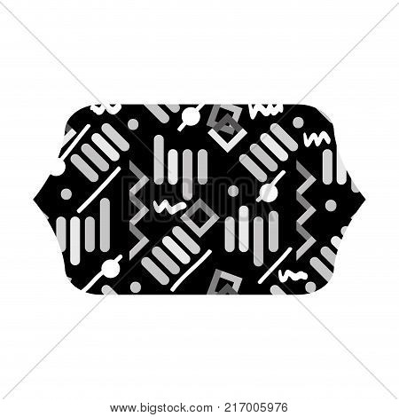 grayscale contour rectangle with memphis graphic style background vector illustration