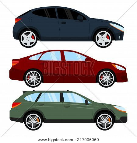 Hatchback, sedan and universal car. Set of different passenger vehicle. Isolated on white background. Vector illustration.