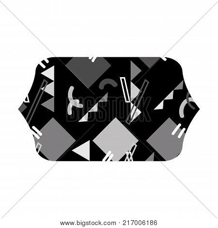 grayscale contour rectangle with graphic abstract memphis background vector illustration