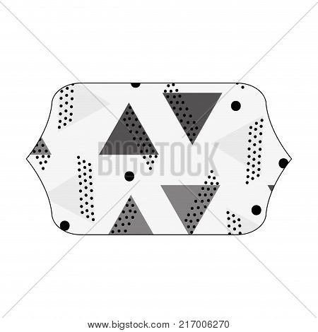 grayscale contour rectangle with memphis graphic abstract background vector illustration