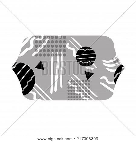 grayscale contour rectangle with graphic figure style background vector illustration