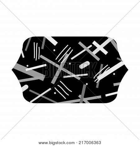 grayscale contour rectangle with geometric figure style background vector illustration