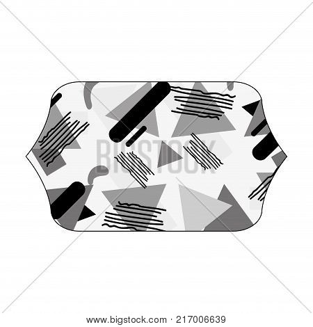 grayscale contour rectangle with style geometric memphis background vector illustration