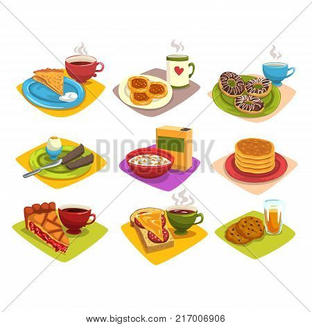 Classic breakfast ideas set. Cartoon morning food illustration with pancakes and coffee, donuts, boiled egg, corn flakes, pie and tea, sandwich, cookies. Flat vector elements for cafe, restaurant menu