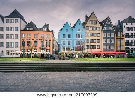 Close-up of the colorful Houses of the Old Town of Cologne in Germany Cologne 2017.