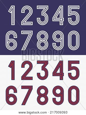 Vector illustration of vintage football jersey numbers typeface in one and two colors