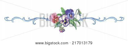 Watercolor vignette of pansies and baroque pattern on a white background.