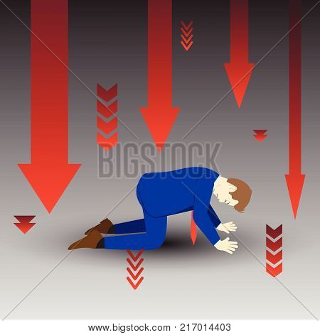 Vector Illustration Business Concept Designed As A Businessman Is Kneeling Among Downward Red Arrows. He Is Despairing To Desperate Issues And Full Of Disappointment Depression And Discouragement.