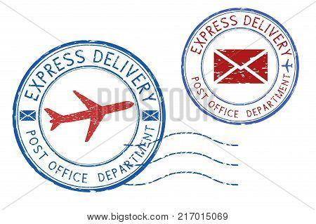 Express delivery postmarks. Grunge round blue and red ink stamps. Vector illustration isolated on white background