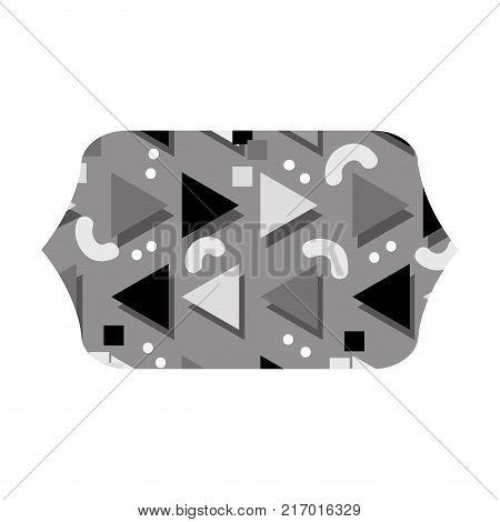 grayscale contour rectangle with style memphis graphic background vector illustration