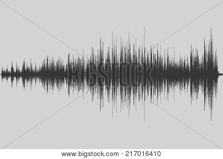 Gray musical equalizer. Sound wave. Radio frequence. Vector illustration