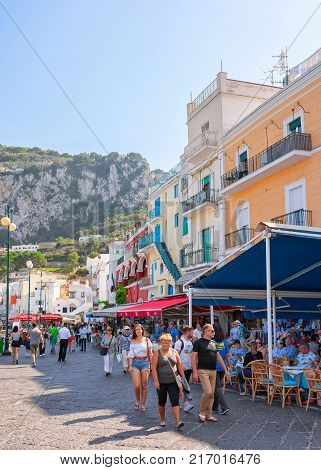 Capri Italy - October 3 2017: Tourists at Street cafes in Capri Island Italy