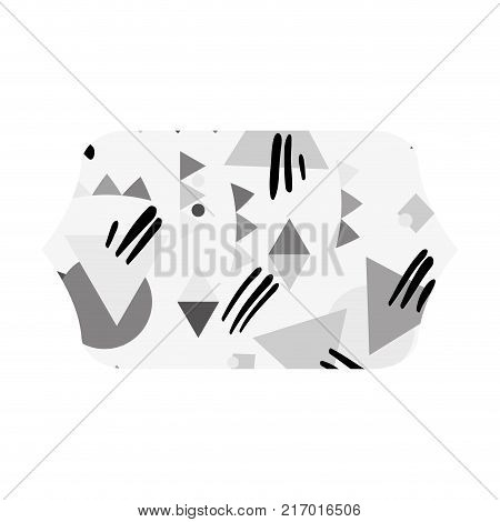 grayscale contour rectangle with memphis geometric style background vector illustration