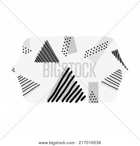 grayscale contour rectangle with geometric style memphis background vector illustration