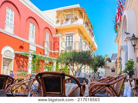 Capri Italy - October 3 2017: Street cafe at Capri Island Italy
