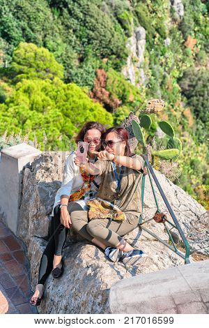 Capri Italy - October 3 2017: Girls making selfie on Capri Island Italy