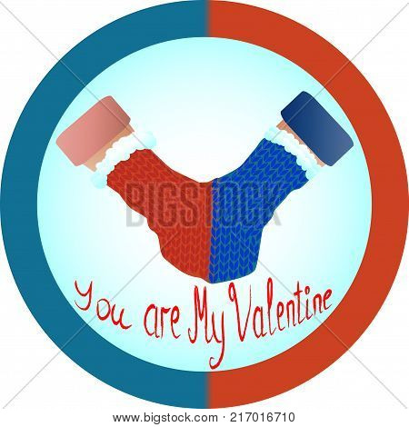 The concept of love and relationship is one mittens for two. Red and blue mittens for two as a symbol of hetero-relationships, sympathy for men and women. Inscription you are my Valentine