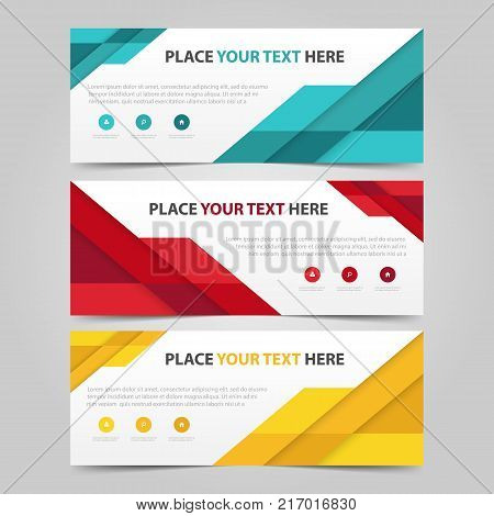 Corporate business banner template horizontal advertising business banner layout template flat design set clean abstract cover header background for website design