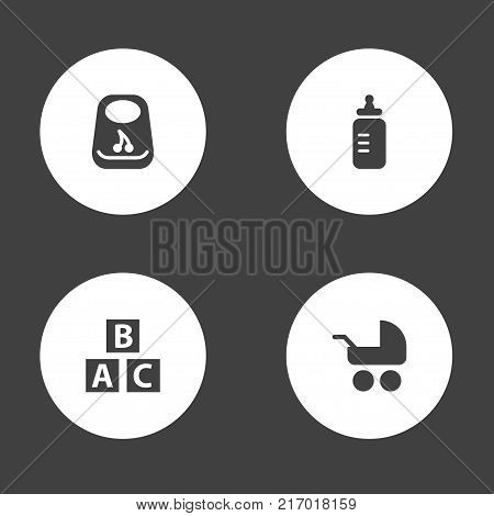 Collection Of Milk, Pram, Abc Block And Other Elements.  Set Of 4 Child Icons Set.