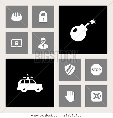 Collection Of Padlock, Strongbox, Patrol And Other Elements.  Set Of 10 Security Icons Set.