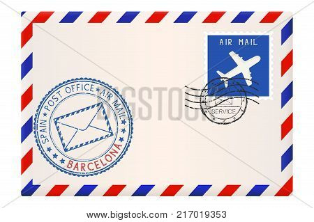 Envelope with Barcelona, Spain postmark. Vector illustration isolated on white background