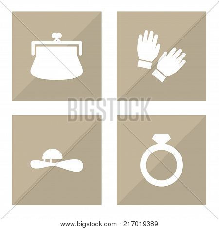 Collection Of Mitten, Purse, Woman Hat And Other Elements.  Set Of 4 Decorating Icons Set.