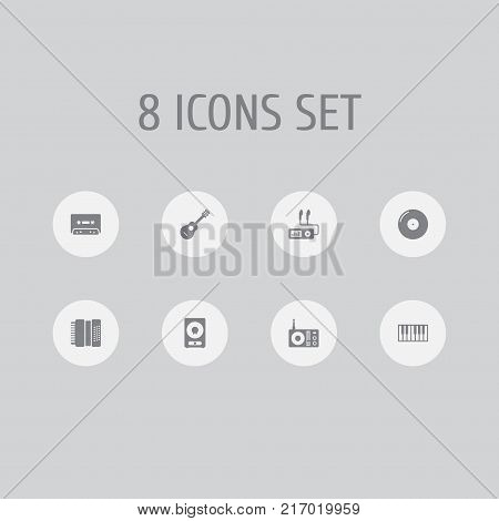Collection Of Retro Disc, Audio Device, Amplifier And Other Elements.  Set Of 8 Melody Icons Set.