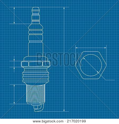 Spark plug technical vector photo free trial bigstock technical drawing on blueprint paper vector illustration malvernweather Gallery