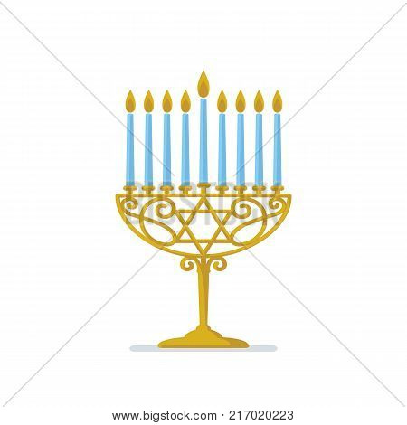 Hanukkah gold menorah. Jewish holiday. Hanukkah gold Menorah with blue candles on white Background. Vector illustration