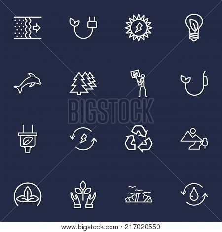 Collection Of Afforestation, Garbage, Dolphin And Other Elements.  Set Of 16 Atmosphere Outline Icons Set.