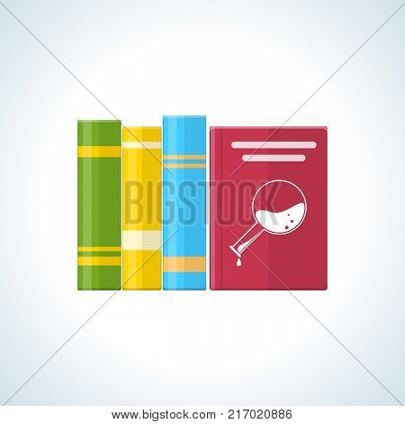 Education, scientific literature, research works, knowledge base, reference materials. Book with school and scientific data. Teaching materials and general literature. Vector illustration.