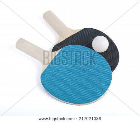 Ping-pong rackets and ball isolated on white