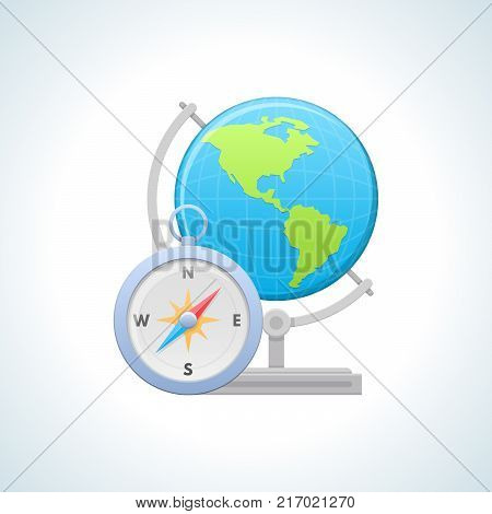 Education, geography, information technology. Knowledge, laboratory study, schooling, scientific study. Education, science study of new information World globe and compass Vector illustration