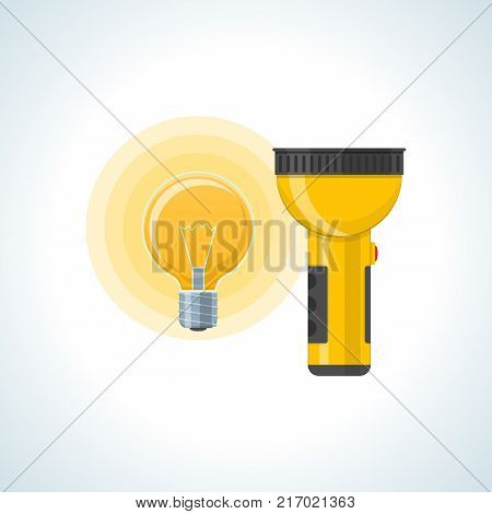 Education, physics, scientific laboratory studies, tests and experiments, study of laws and regulations. Lamp, flashlight and energy batteries. Knowledge, schooling, science Vector illustration