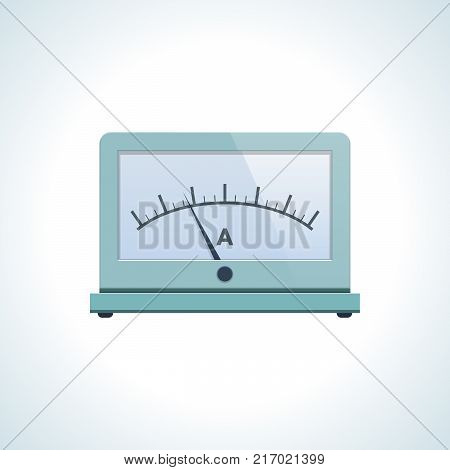 Education, physics, scientific laboratory studies, tests and experiments, study of laws and regulations. Measuring strength of electricity, ammeter. Knowledge, schooling, science Vector illustration
