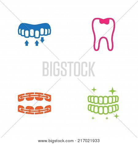 Collection Of Caries, Stabilize, Hygiene And Other Elements.  Set Of 4 Teeth Icons Set.
