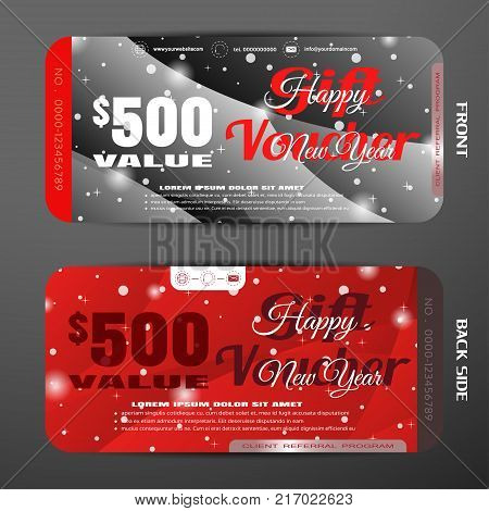 Vector new year gift voucher on the dark gray and red gradient background with wave pattern and snowfall.