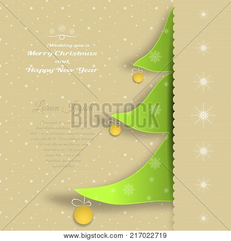 Vector paper art for Merry Christmas and Happy New Year with insert in the form of a green Christmas tree cut from paper with yellow balls text on the background with snowfall pattern.
