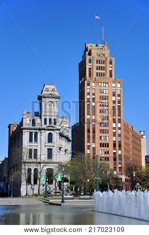 Gridley Building and State Tower Building in downtown Syracuse, New York State, USA. State Tower Building with Art Deco style building is still the tallest building in Syracuse.