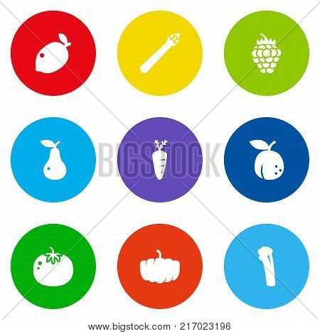 Collection Of Razz, Lime, Gourd And Other Elements.  Set Of 9 Fruit Icons Set.