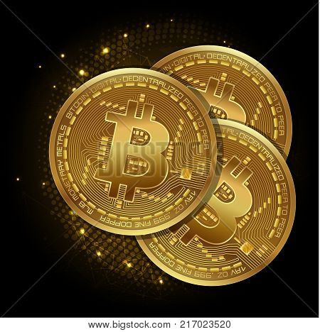 Bitcoin. Physical bit coin. Digital currency. Cryptocurrency. Golden coin with bitcoin symbol. Vector illustration on a dark futuristic digital background