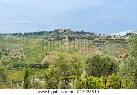 View on the small village of Panzano in a typical Tuscan lanscape in the surrounding area of Siena, Italy