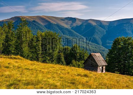 Shed On A Grassy Slope In Mountains